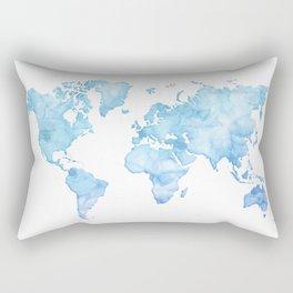 Light blue watercolor world map Rectangular Pillow