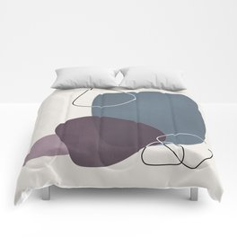 Abstract Glimpses in Peninsula Blue and Aubergine Comforters