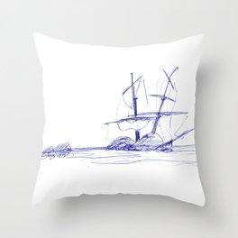 Ship Wrecked Throw Pillow