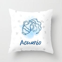 Zodiac signs collection - Aquarius/Acuario Delvallediseno Throw Pillow