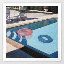 Pink Pool Inner Tube Art Print