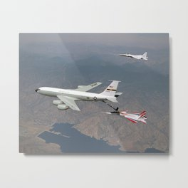 955. One of NASA's two F-15 research aircraft gets refueled in mid-air over Lake Isabella from a USAF KC-135 tanker while NASA's other F-15 flies chase alongside. Metal Print