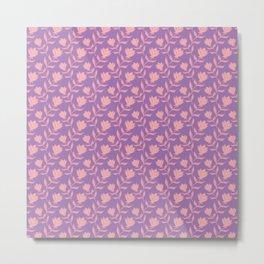 Elegant classy delicate distressed rose flowers pattern. Retro vintage heather faded purple floral Metal Print