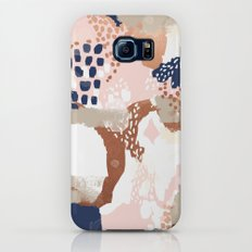 Sonia - rose gold navy copper modern abstract rosegold trendy pattern cell phone accessories Slim Case Galaxy S7