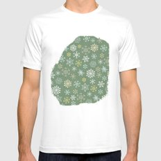 christmas snowy green Mens Fitted Tee White MEDIUM