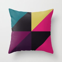 Triangle Shapes Texture, Retro Style, Purple, Turquoise, Yellow, Pink and Black Throw Pillow