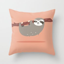 Sloth card - hello beautiful Throw Pillow