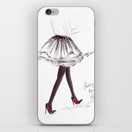 Watercolour Fashion Illustration Titled Strolling through Paris iPhone Skin