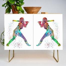 Baseball Softball Player Sports Art Print Watercolor Print Girl's softball Credenza