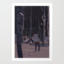 Kitsune at Night Art Print