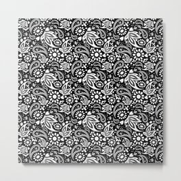 Black and White Bohemian Pattern Metal Print