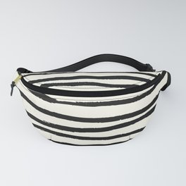 Tribal Stripes Black Earth on Ivory Cream Fanny Pack