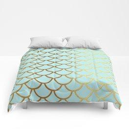 Aqua Teal And Gold Foil MermaidScales - Mermaid Scales Comforters