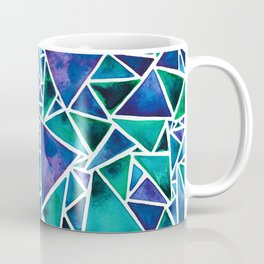 Geometric Turquoise and Blue Triangles Coffee Mug
