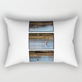Gone Fishing Triptych White Rectangular Pillow
