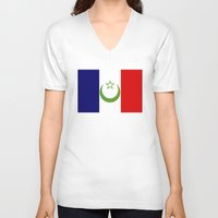 casablanca V-neck T-shirts featuring French Morocco flag by tony tudor