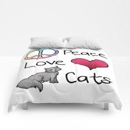 Peace Love Cats Comforters