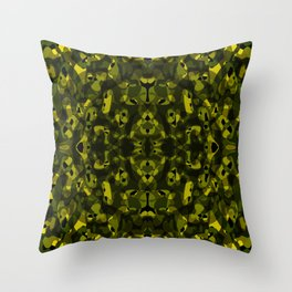 Brilliant ornament of yellow spots and velvet blots on black. Throw Pillow