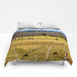 Cattle ranch overlooking the Blue Ridge Mountains Comforters