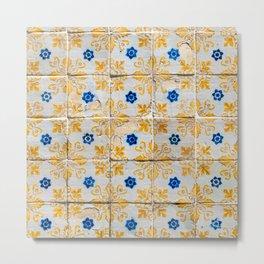 Azulejos Tiles, yellow, white and blue Metal Print