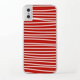 Red & White Maritime Hand Drawn Stripes- Mix & Match with Simplicity of Life Clear iPhone Case