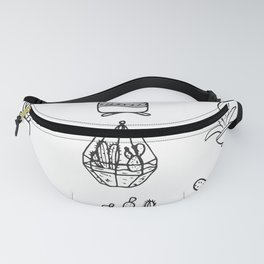 Minimalist Cacti Collection Black and White Fanny Pack