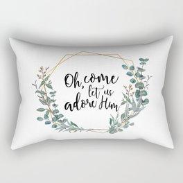 Let Us Adore Him Eucalyptus Wreath Rectangular Pillow