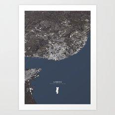 Lisbon City Map II Art Print