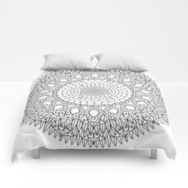 Bubbly Flower Mandala - Color Your Own  Comforters