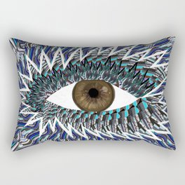 Origami Chakra Eye - Chocolate Brown Black Rectangular Pillow