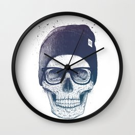 Color skull in a hat Wall Clock