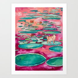 Ginger Cat amongst the Lily Pads on a Pink Lake Art Print
