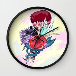 Chrysanth Wisteria & Lily - & Rose  Wall Clock