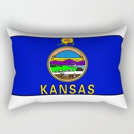 Kansas Map with Kansas State Flag Rectangular Pillow