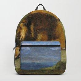 Eugene Delacroix - Lion Devouring A Goat - Digital Remastered Edition Backpack