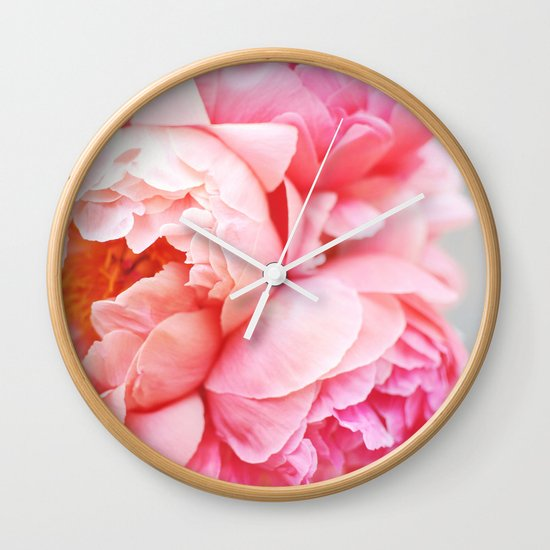 Peonies Forever Wall Clock