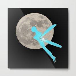 Blue elf with moon, magic, fantasy Metal Print