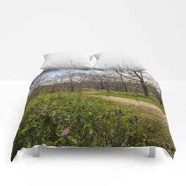 Troubled summer woods Comforters