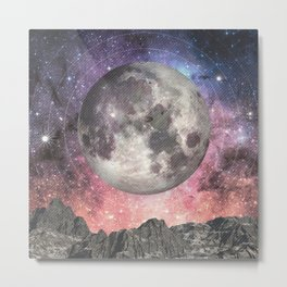 Moon Over Mountain Lake Metal Print