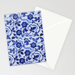 Azulejos blue floral pattern Stationery Cards