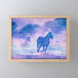 Horses run Framed Mini Art Print