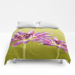 Water Lilies violet green Comforters
