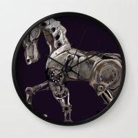 steam punk Wall Clocks featuring Steam Punk Horse by tgronberg
