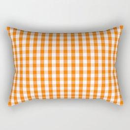 Classic Pumpkin Orange and White Gingham Check Pattern Rectangular Pillow
