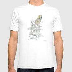 Miss Owl and Butterfly friend MEDIUM White Mens Fitted Tee