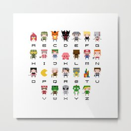 Video Games Pixel Alphabet Metal Print