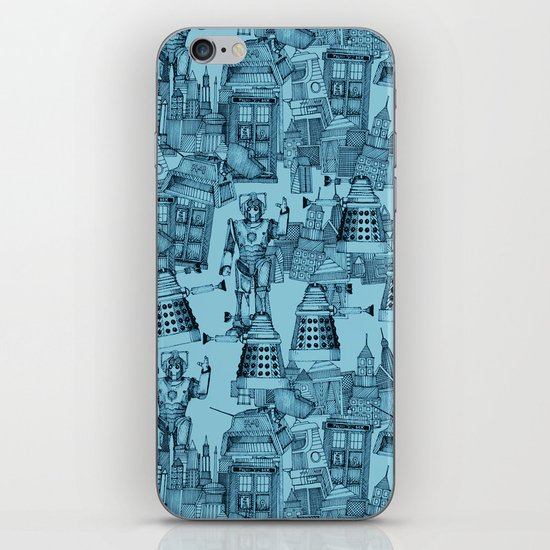 Doctor Who Toile de Jouy   'Walking Doodle'   Turquoise iPhone & iPod Skin