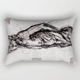Saint - Charcoal on Newspaper Figure Drawing Rectangular Pillow
