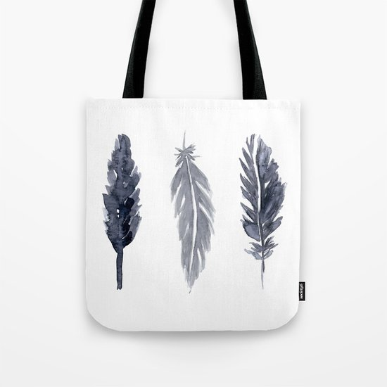 Black watercolor feathers Tote Bag