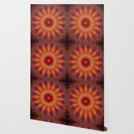 Vibrant Purple Orange Mandala Design Wallpaper